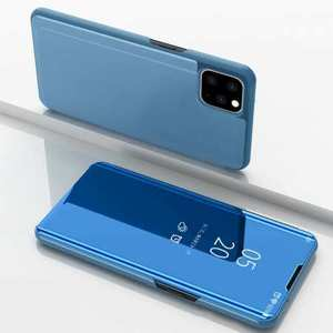 For iPhone 11 Pro Max Mirror Smart Case Clear View Stand Flip Cover - Blue