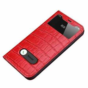 For iPhone 11 Pro Max Smart Crocodile Leather Windows Flip Case Cover - Red