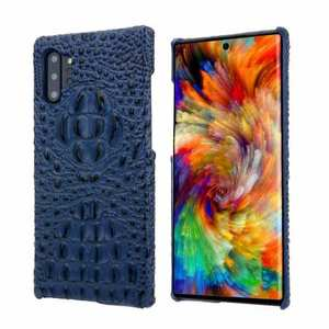Genuine 3D Crocodile Leather Case Cover for Samsung Galaxy Note 10 + / 10 - Navy Blue