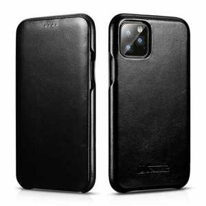 ICARER Curved Edge Vintage Genuine Leather Folio Case For iPhone 11 Pro - Black
