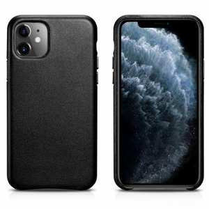 ICARER Real Genuine Leather Back Cover For iPhone 11 Pro - Black