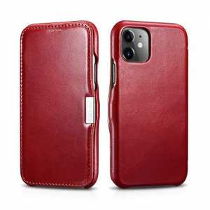 ICARER Vintage Genuine Leather Side Magnetic Flip Case for iPhone 11 Pro MaX - Red