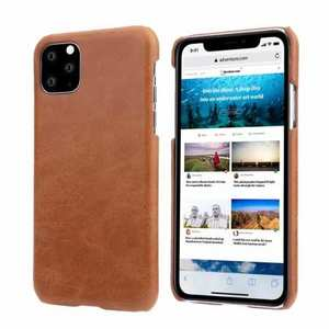 Matte Genuine Leather Back Case Cover for iPhone 11 Pro Max - Brown