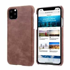 Matte Genuine Leather Back Case Cover for iPhone 11 Pro Max - Dark Brown