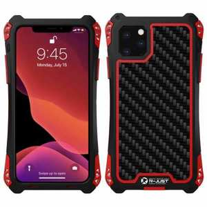 R-JUST Aluminum Metal Bumper Silicone TPU Carbon Fiber Shockproof Case for iPhone 11 Pro - Red