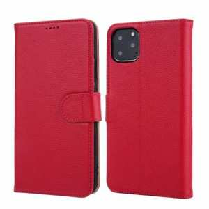 Real Genuine Cowhide Litchi Grain Leather Flip Case For iPhone 11 Pro Max - Red