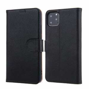 Real Genuine Cowhide Litchi Grain Leather Flip Case For iPhone 11 Pro Max - Black
