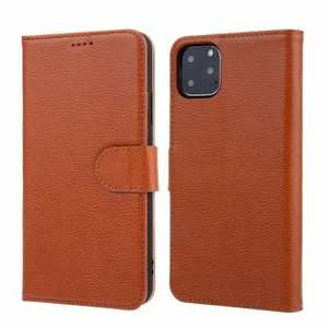 Real Genuine Cowhide Litchi Grain Leather Flip Case For iPhone 11 Pro Max - Brown