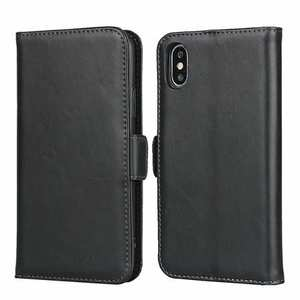 For iPhone XS X Genuine Leather Wallet Card Case Cover Stand - Black
