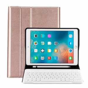 For iPad 10.2 2019 Bluetooth Keyboard Leather Case Cover With Pencil Holder - Rose Gold
