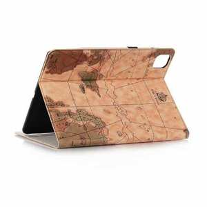 "For iPad Pro 11"" 2020 World Map Stand Flip Leather Case - Light Brown"