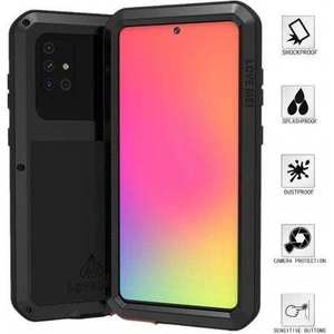 For Samsung Galaxy A71 Metal Shockproof Aluminum Heavy Duty Case Cover - Black