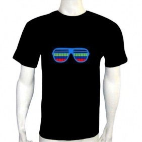 music light up shirt,Glass EL LED T-Shirt Funny Gadgets Rave Party Disco Light