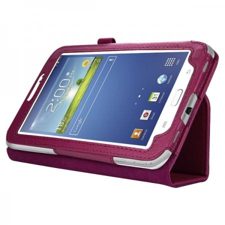 "Leather Folding Folio Stand Case Cover For Samsung Galaxy Tab 3 7.0"" T210 P3200 P3210 - Rose red"