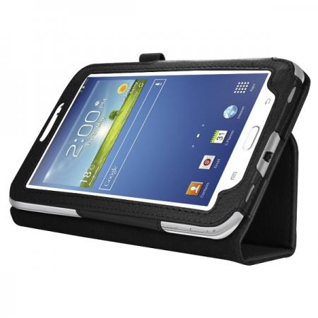 "Leather Folding Folio Stand Case Cover For Samsung Galaxy Tab 3 7.0"" T210 P3200 P3210 - Black"