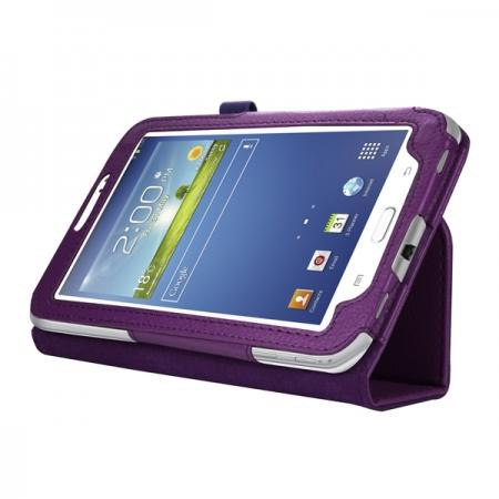 "Leather Folding Folio Stand Case Cover For Samsung Galaxy Tab 3 7.0"" T210 P3200 P3210 - Purple"