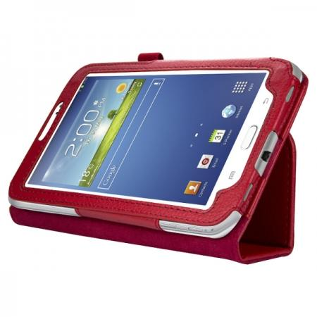 "Leather Folding Folio Stand Case Cover For Samsung Galaxy Tab 3 7.0"" T210 P3200 P3210 - Red"