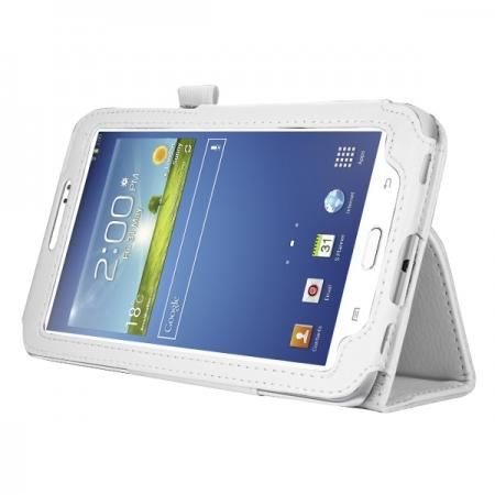 "Leather Folding Folio Stand Case Cover For Samsung Galaxy Tab 3 7.0"" T210 P3200 P3210 - White"