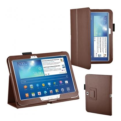 "10.1 case for tablet,PU Leather Flip Tablet Case Cover for Samsung Galaxy Tab 3 10.1"" P5200/P5210 - Brown"