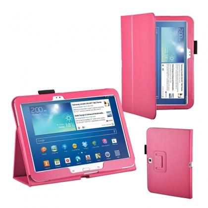 "covers for samsung galaxy tab 3 10.1,PU Leather Flip Tablet Case Cover for Samsung Galaxy Tab 3 10.1"" P5200/P5210 - Hot Pink"