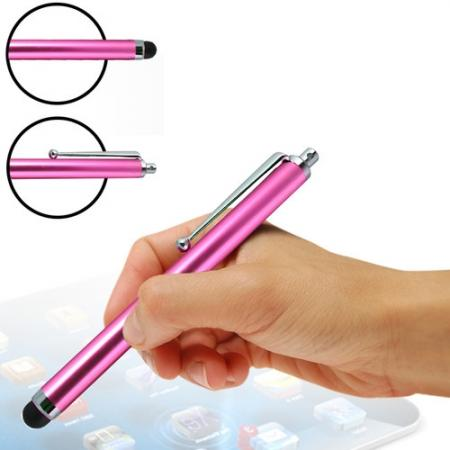 Capacitive aluminium stylus pen for mobile phones, PDA, Tablet PC, iPad & iPhone - Hot Pink