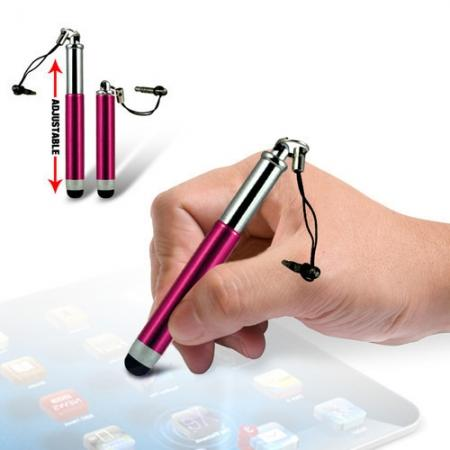 Capacitive aluminium stylus pen for mobile phones, PDA, Tablet PC, iPad & iPhone - Rose red