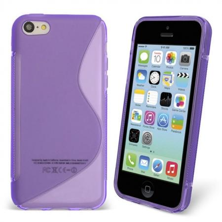 S Line Wave Gel Case Cover For Apple iPhone 5C - Purple