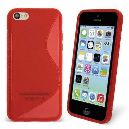 S Line Wave Gel Case Cover For Apple iPhone 5C - Red