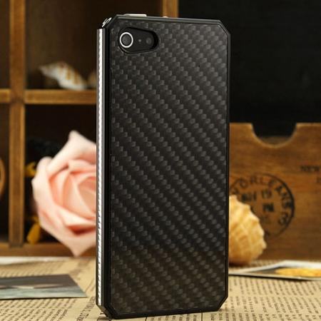 Space Aluminium + Carbon fiber Case For iPhone SE/5S/5 - Black