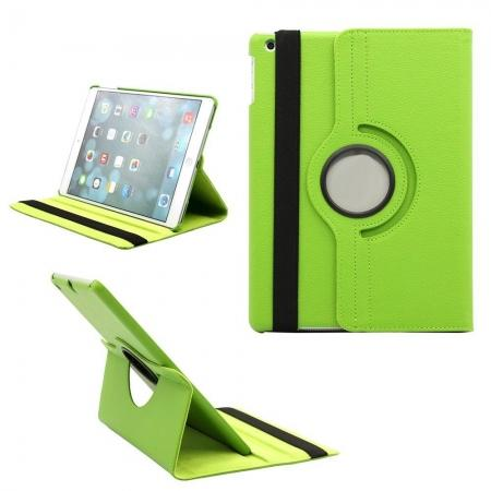 new ipad air case covers leather,360 Degree Rotating PU Leather Case Cover Swivel Stand for Apple iPad Air - Green
