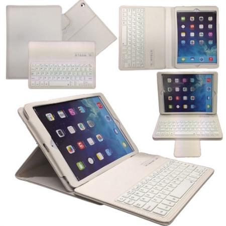Leather Detachable Bluetooth Keyboard Case with Stand for iPad Air - White