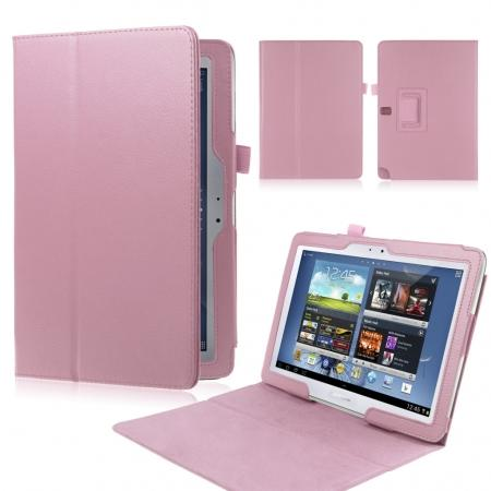 New Lychee Leather Pouch Case With Stand for Samsung Galaxy Note 10.1 P600/P601 2014 Edition - Pink