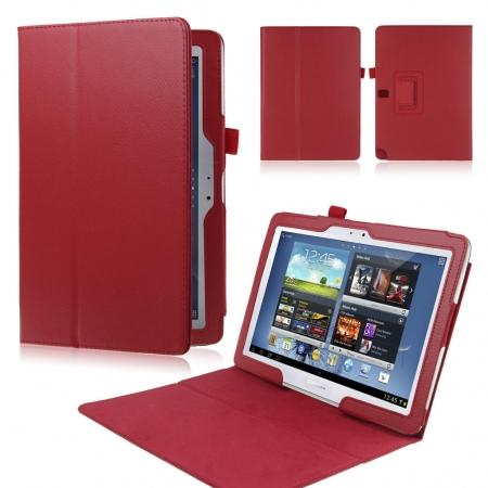 New Lychee Leather Pouch Case With Stand for Samsung Galaxy Note 10.1 P600/P601 2014 Edition - Red