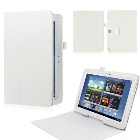 New Lychee Leather Pouch Case With Stand for Samsung Galaxy Note 10.1 P600/P601 2014 Edition - White
