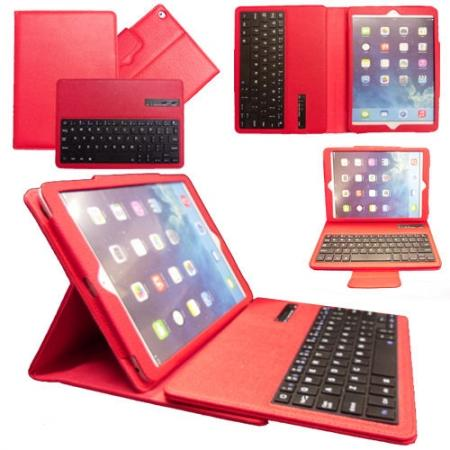 Leather Detachable Bluetooth Keyboard Case with Stand for iPad Air - Red
