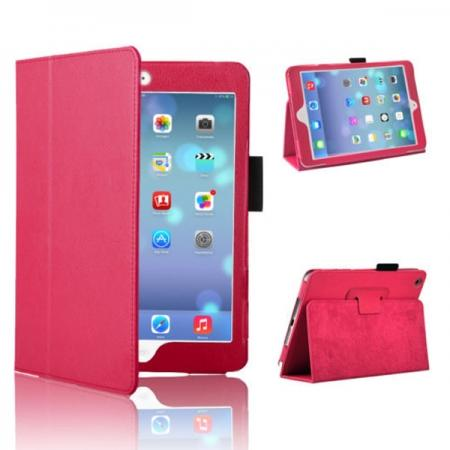 litchi rotating for ipad mini retina with stand,Magnetic PU Leather Smart Cover Case for iPad mini Retina 2 - Hot Pink