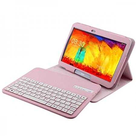 Bluetooth Keyboard Leather Case For Samsung Galaxy Note 10.1 2014 Edition P600 - Pink