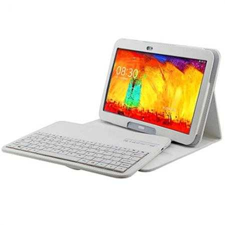 Bluetooth Keyboard Leather Case For Samsung Galaxy Note 10.1 2014 Edition P600 - White
