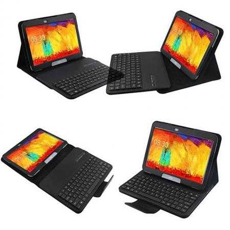 Removable Bluetooth Keyboard Leather Case for Samsung Galaxy Tab Pro 10.1 T520 - Black