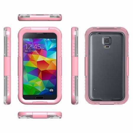 Waterproof Shockproof Dirt Proof Durable Case Cover for Samsung Galaxy S5 - Pink