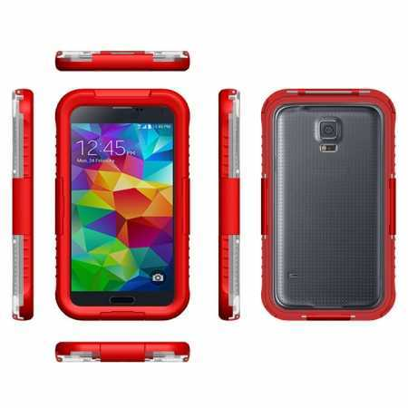 Waterproof Shockproof Dirt Proof Durable Case Cover for Samsung Galaxy S5 - Red