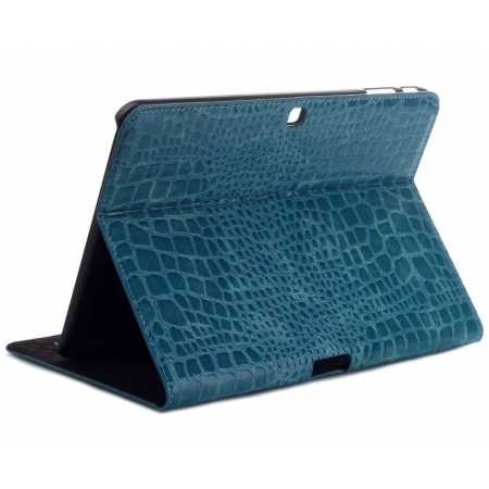 Crocodile Pattern Leather Stand Case for Samsung Galaxy Tab 4 10.1 T530 - Blue