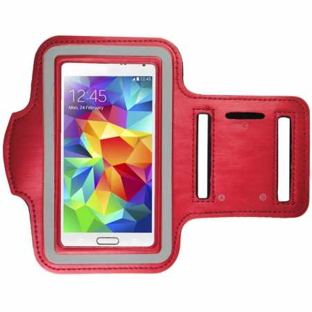 Sports Gym Running Arm Band Armband Case Cover For Samsung Galaxy S5 - Red