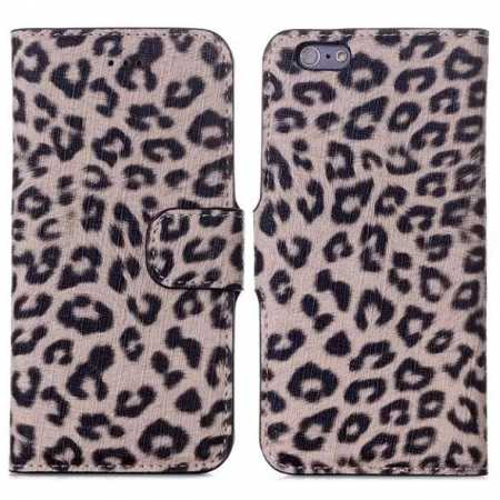 "Leopard Print Leather Folio Stand Wallet Case for iPhone 6/6S 4.7"" - Brown"