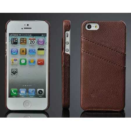 Litchi Genuine leather card holder hard back case cover for iPhone SE/5S/5 / XS MAX / XS / XR