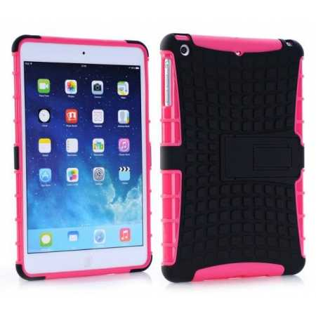Shockproof Military Duty Hybrid Hard Case for iPad Mini 2 Retina - Hot pink