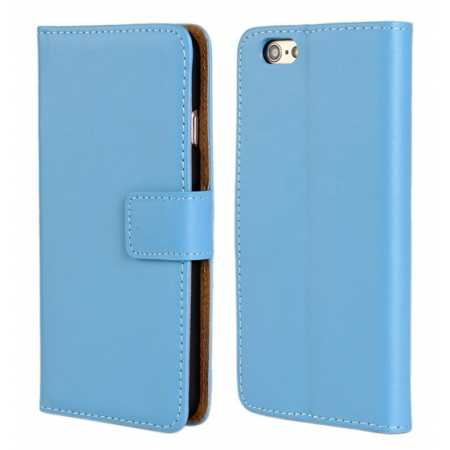 Genuine Leather Wallet Flip Case Cover For iPhone 6 Plus/6S Plus 5.5inch - Blue