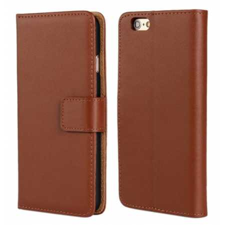 Genuine Leather Wallet Flip Case Cover For iPhone 6 Plus/6S Plus 5.5inch - Brown