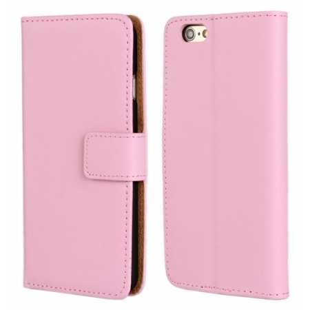 Genuine Leather Wallet Flip Case Cover For iPhone 6 Plus/6S Plus 5.5inch - Pink