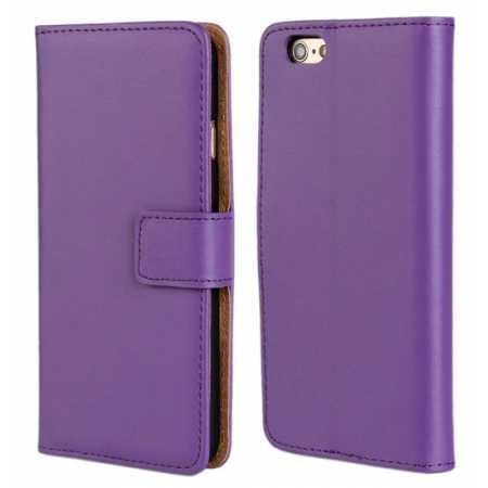 Genuine Leather Wallet Flip Case Cover For iPhone 6 Plus/6S Plus 5.5inch - Purple